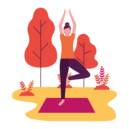 woman practicing yoga on mat in the park vector illustration Stock Illustratie