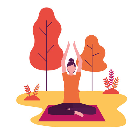 woman practicing yoga on mat in the park vector illustration Stock Vector - 113818166