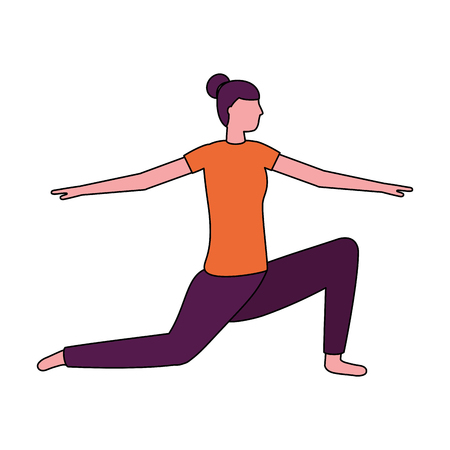Mujer practicando yoga postura salud ilustración vectorial