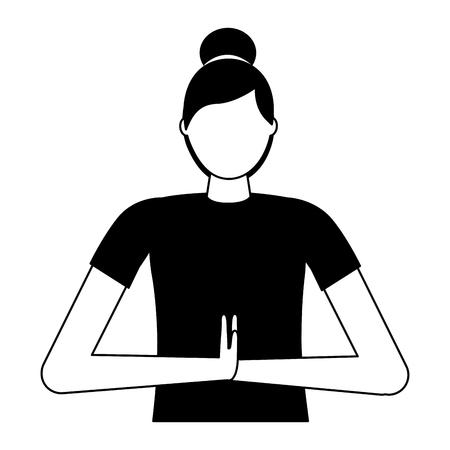woman practicing yoga posture health vector illustration