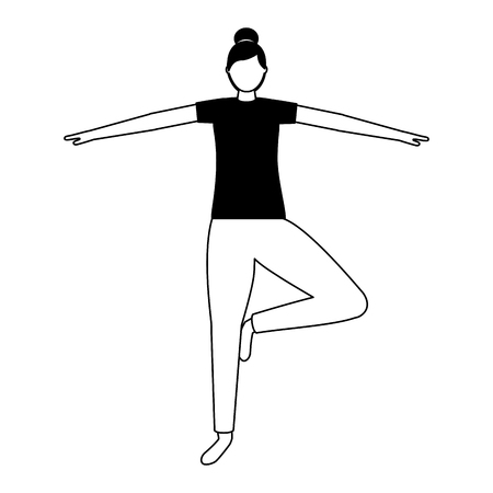 woman practicing yoga posture health vector illustration