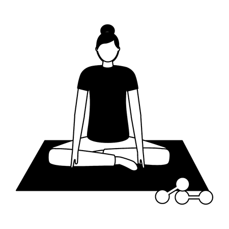 woman making yoga with mat and dumbbells vector illustration Stock Vector - 126820337
