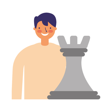 businessman with chess piece strategy vector illustration