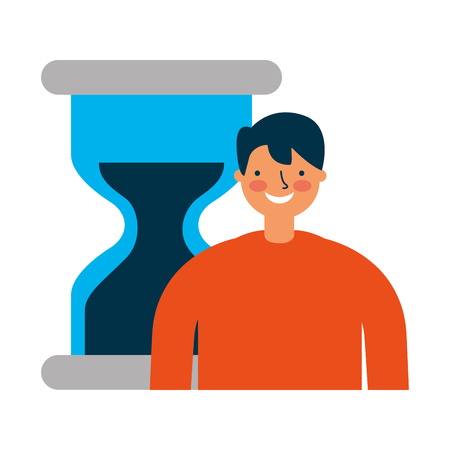 businessman with hour glass time vector illustration Çizim