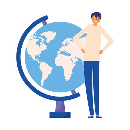 man with school globe study vector illustration