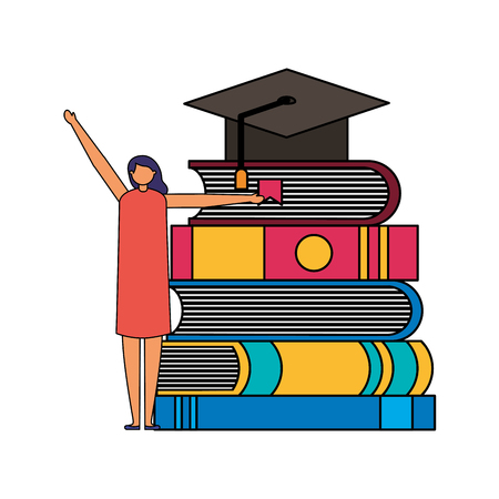 student woman and books graduation hat vector illustration  イラスト・ベクター素材