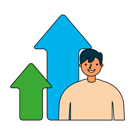 businessman with growth arrows financial vector illustration 向量圖像