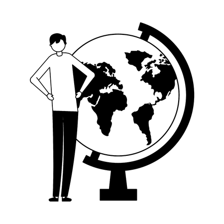 man with school globe study vector illustration Stock Vector - 113818061