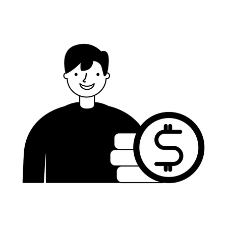businessman with stack coins money vector illustration