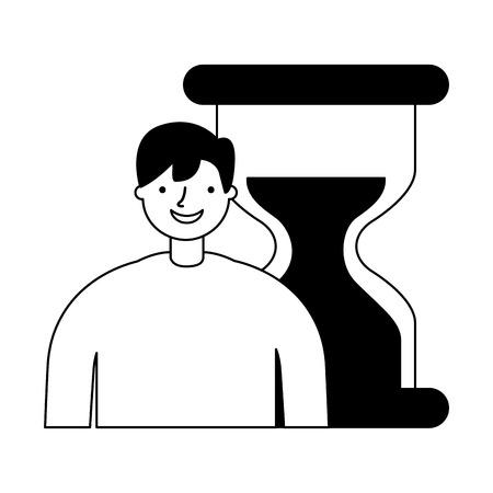 businessman with hour glass time vector illustration Illustration