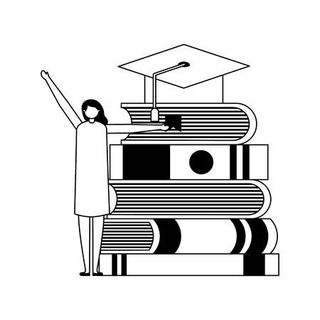 student woman and books graduation hat vector illustration Illusztráció