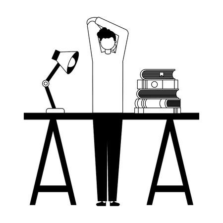 man student books school suppplies vector illustration