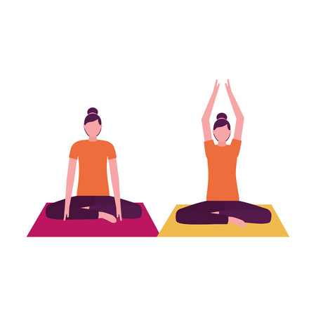 women practicing yoga on mat vector illustration Illustration