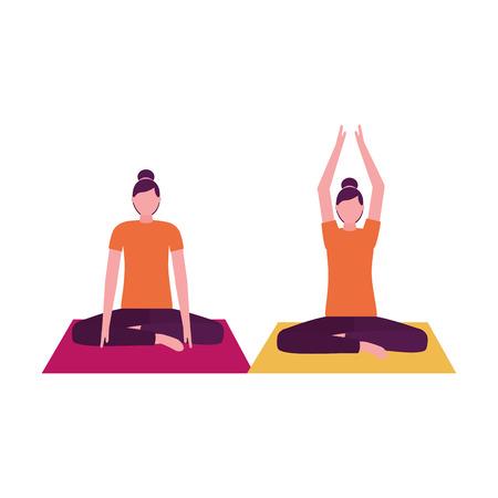 women practicing yoga on mat vector illustration Illusztráció