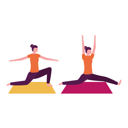 women practicing yoga on mat vector illustration Ilustração