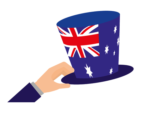 hand holding hat with australian flag vector illustration