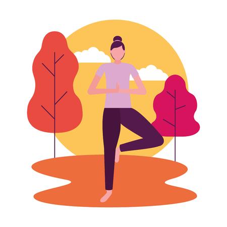 Ilustración de vector de cuerpo de mujer de parque de actividades de yoga
