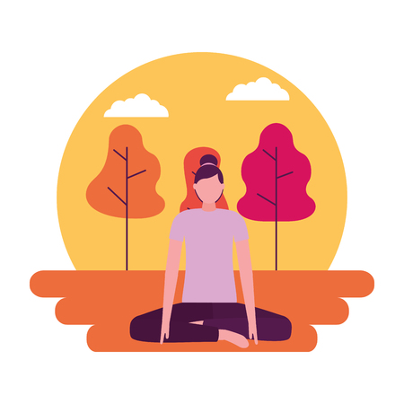 yoga activity park woman body vector illustration