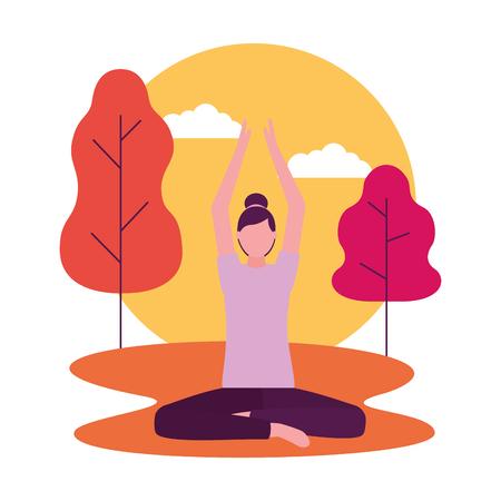 Parc d'activités de yoga femme corps vector illustration