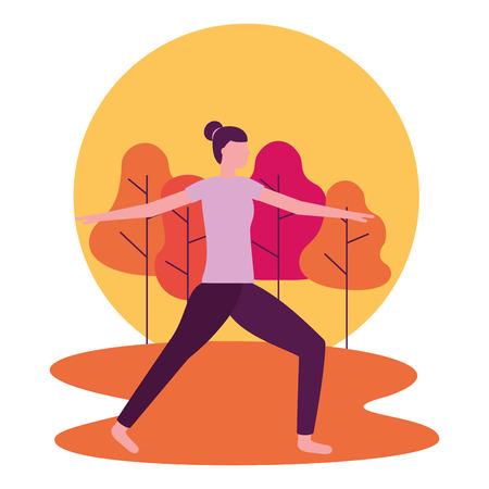 Ilustración de vector de cuerpo de mujer de parque de actividades de yoga Ilustración de vector