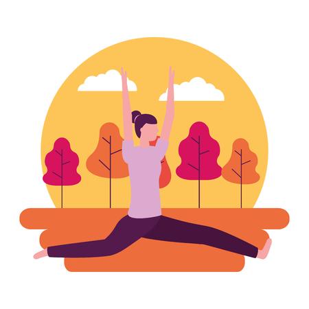 yoga activity park woman body vector illustration