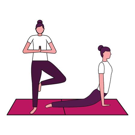 women practicing yoga on mat vector illustration  イラスト・ベクター素材