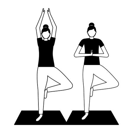 women practicing yoga on mat vector illustration Stock Vector - 113993151