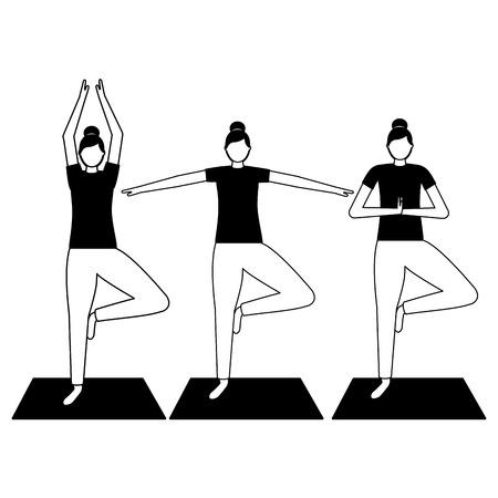 women practicing yoga on mat vector illustration Illustration