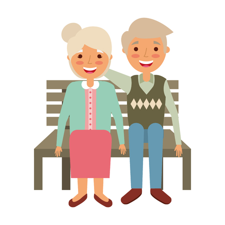 elderly couple sitting on bench vector illustration Illusztráció