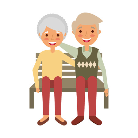 elderly couple sitting on bench vector illustration 版權商用圖片 - 126820409
