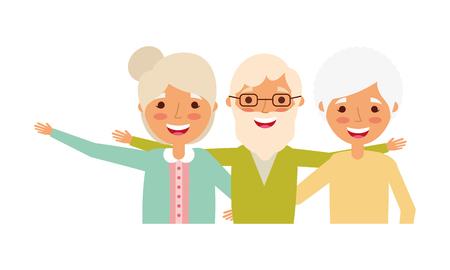group of old people embraced portrait vector illustration