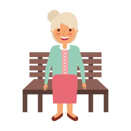 old woman sitting on bench vector illustration Иллюстрация