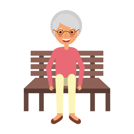 old woman sitting on bench vector illustration  イラスト・ベクター素材