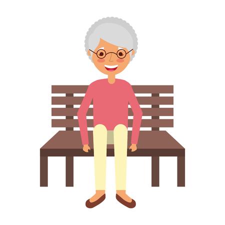 old woman sitting on bench vector illustration Illustration