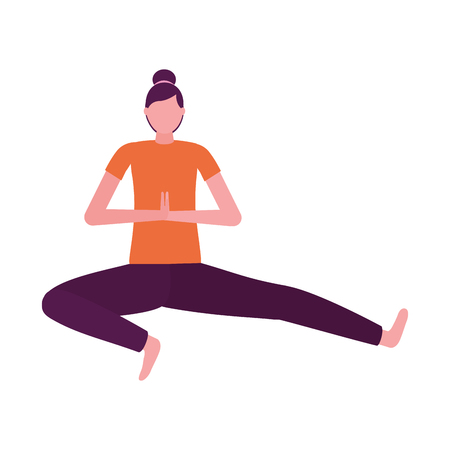 woman practicing yoga white background vector illustration