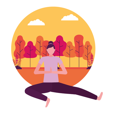 yoga activity park woman body vector illustration Stok Fotoğraf - 113817992