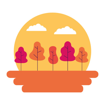 sunset landscape trees outdoors natural vector illustration