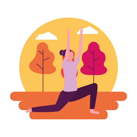yoga activity park woman body vector illustration 版權商用圖片 - 113817998