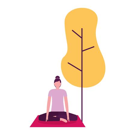 attività di yoga donna sull'illustrazione vettoriale naturale albero mat mat