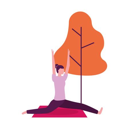 Mujer de actividad de yoga en la ilustración de vector natural de árbol de estera