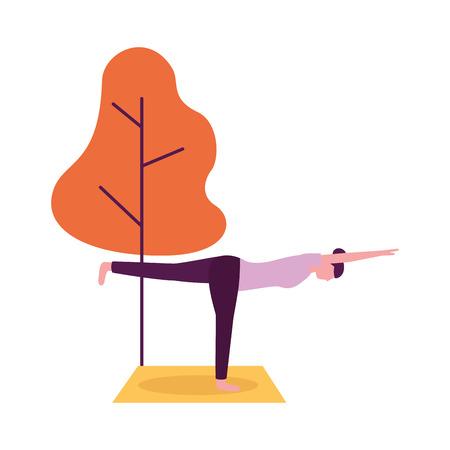 Activité de yoga femme sur l'illustration vectorielle naturelle de l'arbre mat
