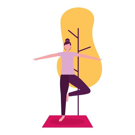 yoga activity woman on mat tree natural vector illustration Illustration