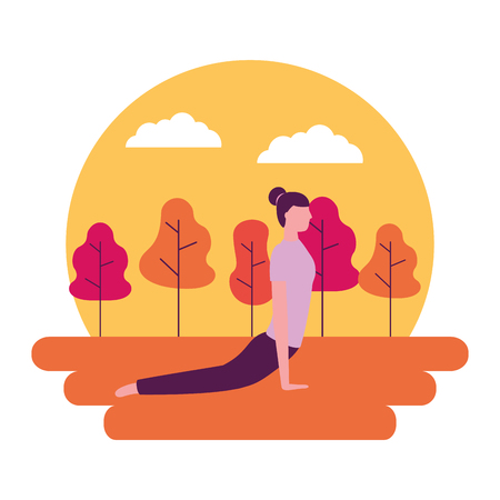 yoga activity park woman body vector illustration 版權商用圖片 - 113817976