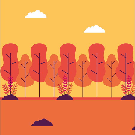 forest trees bushes landscape nature vector illustration