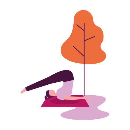 yoga activity woman on mat tree natural vector illustration 스톡 콘텐츠 - 113819129