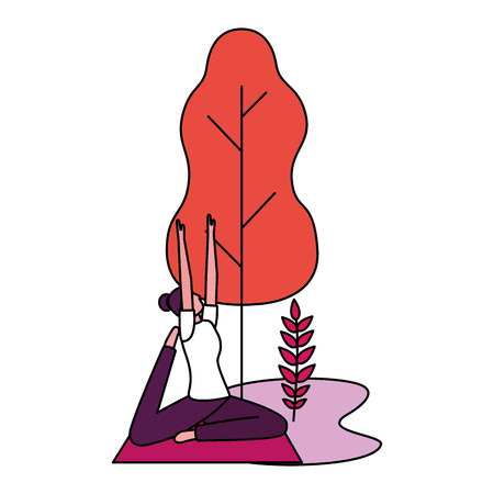 yoga activity woman on mat tree natural vector illustration Çizim