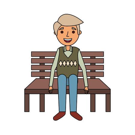 old man sitting on bench vector illustration