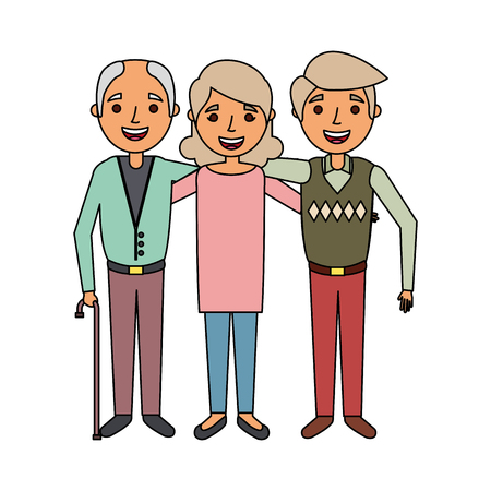 group of old people embraced portrait vector illustration