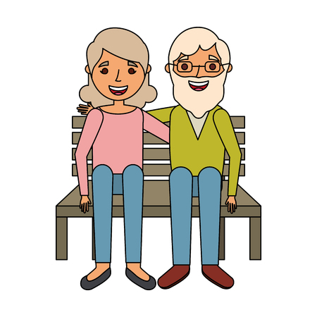 elderly couple sitting on bench vector illustration Vettoriali