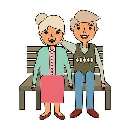 elderly couple sitting on bench vector illustration 版權商用圖片 - 126820742